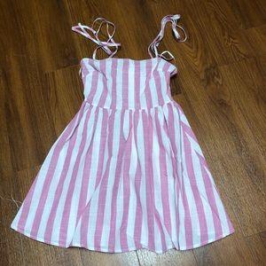 Pink striped tie strap dress
